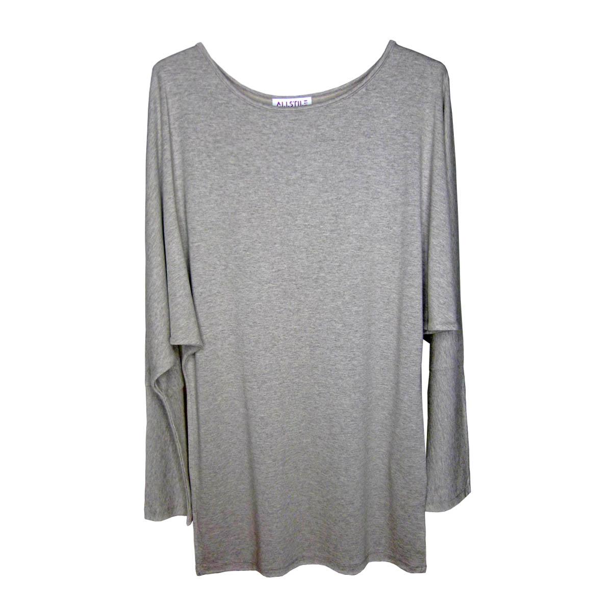 Clothing - Comfort-fit Bat Sleeve Dress - Grey - 01