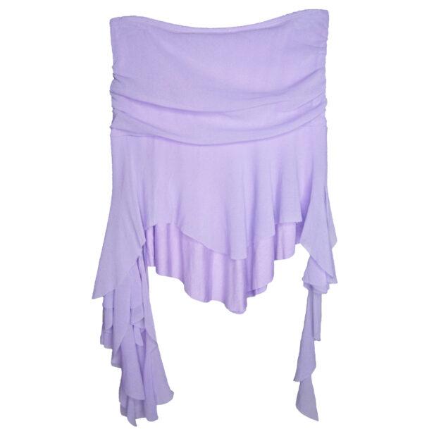 Asymmetric Ruffle Hem Skirt in Lilac