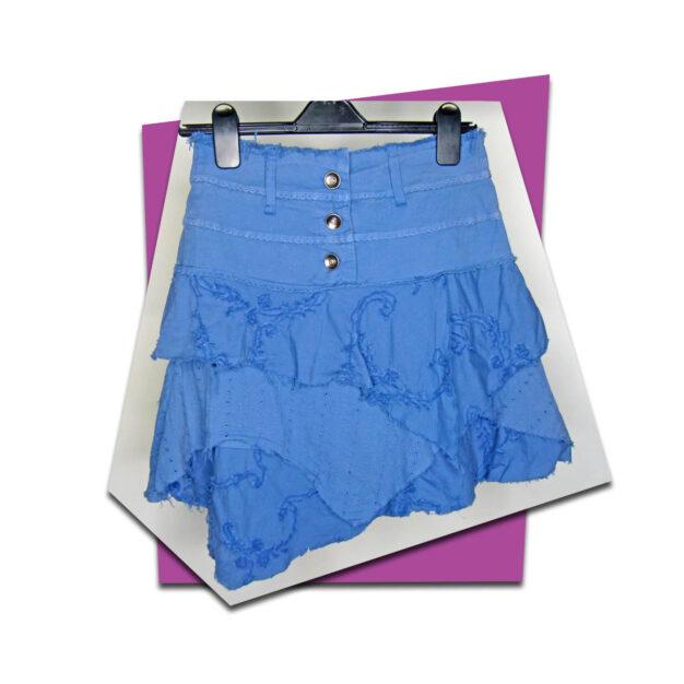 Outlet - Layered Ruffle Hem Skirt - Blue - 01