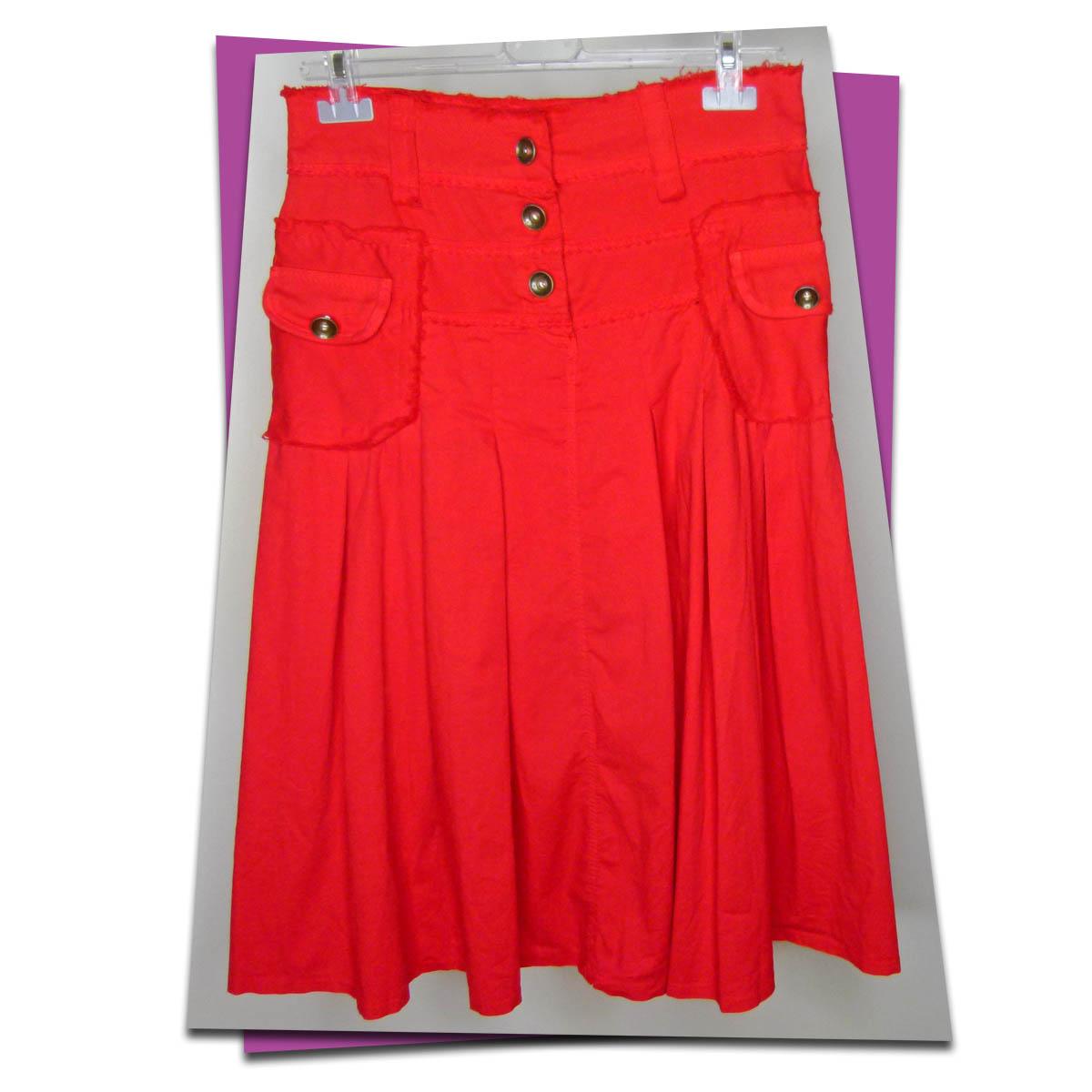 Outlet - Pocket Detail Midi Skirt - Red - 01