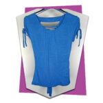 Outlet - Tie Sleeve Top With Split Back Details - Blue - 01