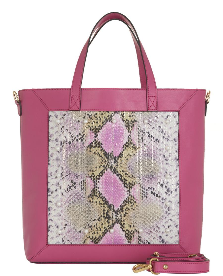 Small Shopper With Strap - Pink   Python - Allstile 4f03feb396
