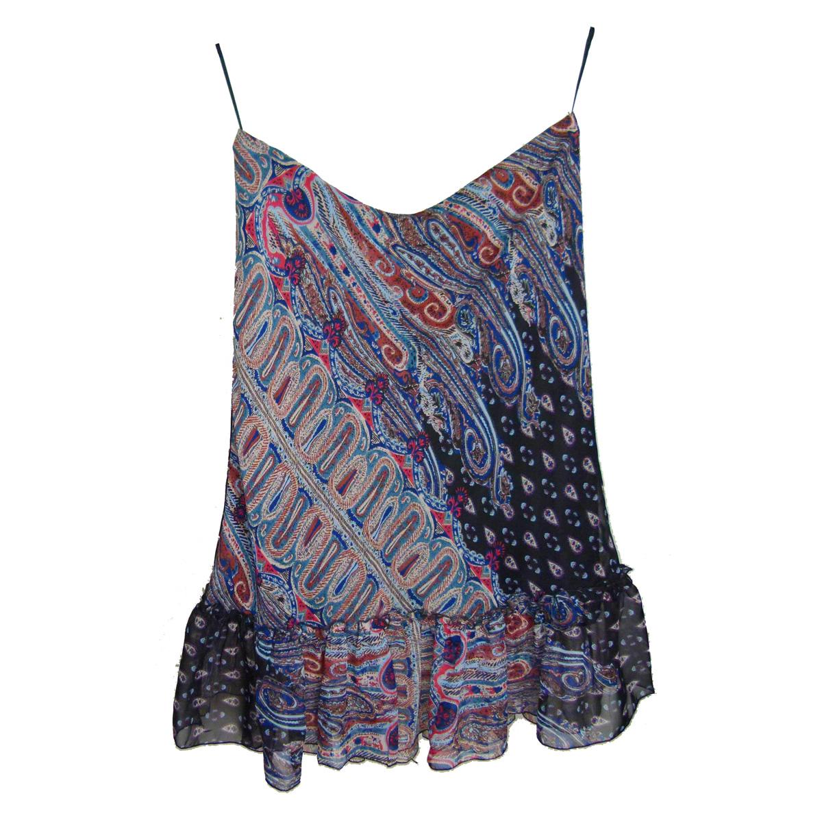 Satin Ruffle Hem Midi Skirt in Blue