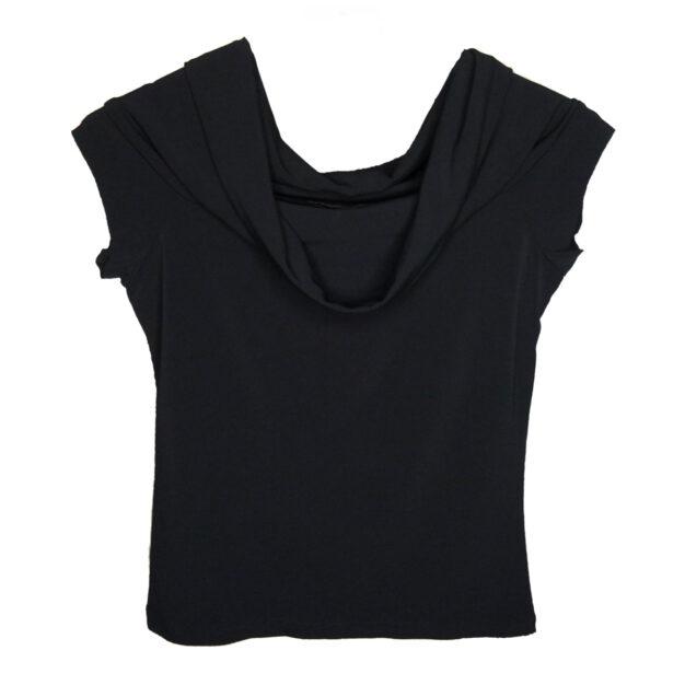 Scarf Style Neckline Evening Top in Black