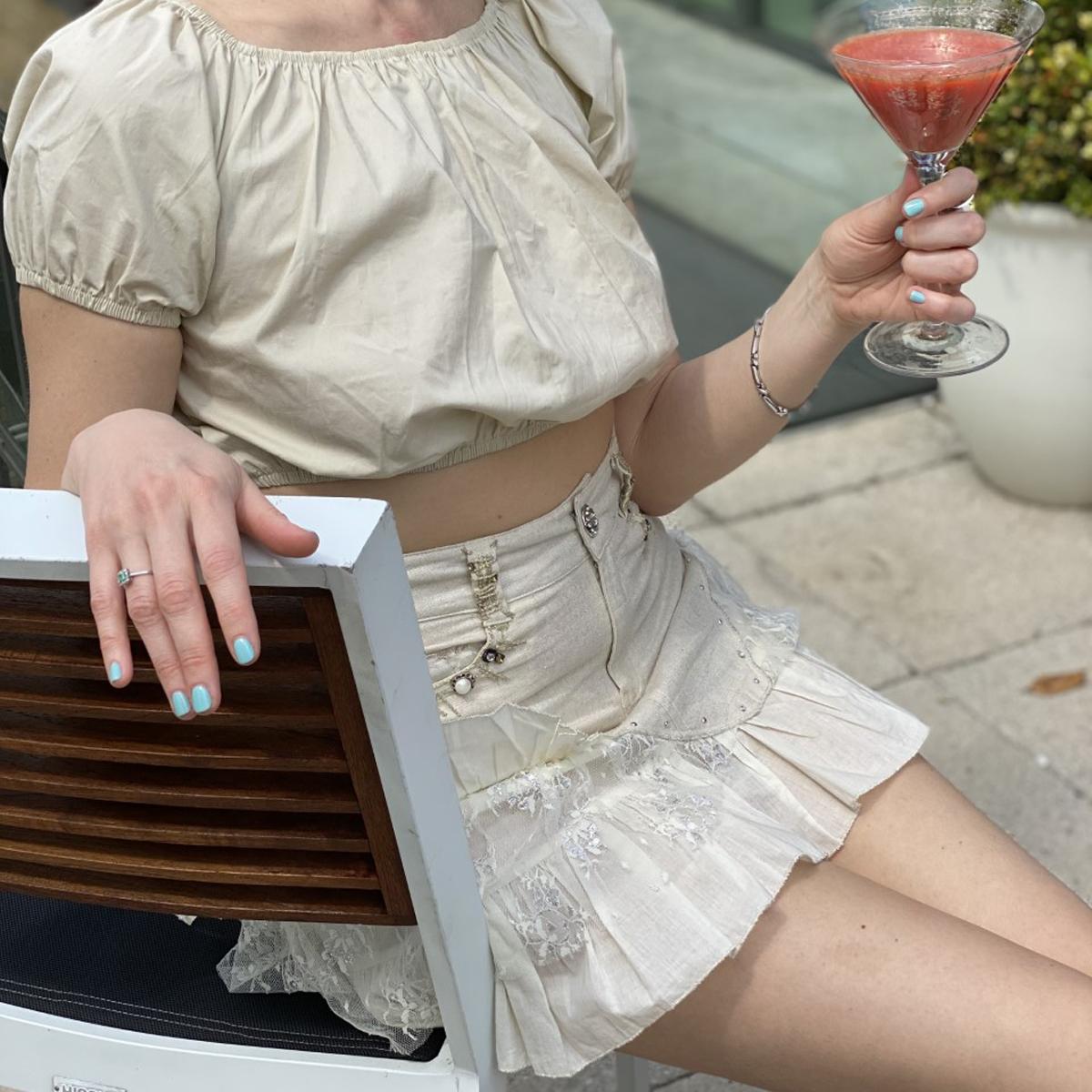 Asymmetrical Ruffle Hem Skirt In Beige