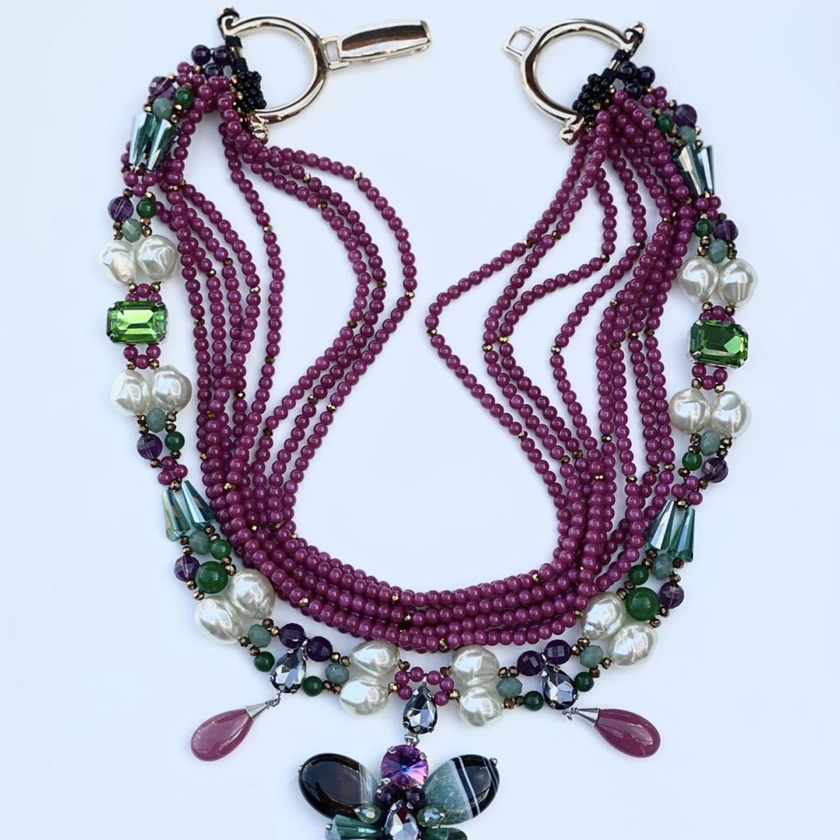 Beaded Flower Necklace In Fuchsia