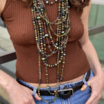 Multi-Layer Beaded Necklace In Green